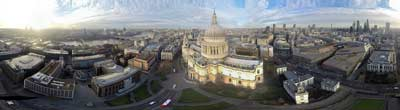 360° AERIAL PANORAMA OF SAINT PAULS CATHEDRAL LONDON