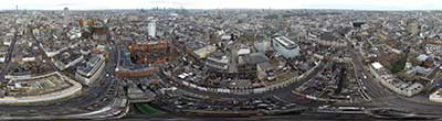 360° AERIAL PANORAMA OF SOHO DISTRICT IN LONDON